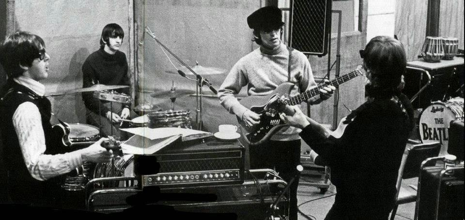 The band recording Rubber Soul.