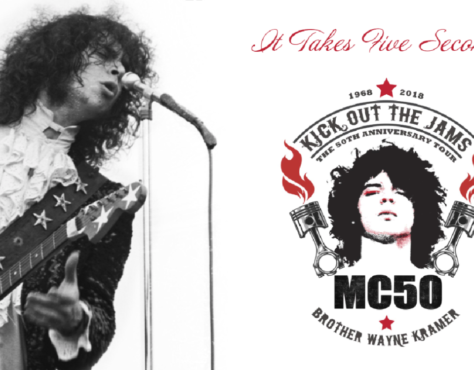 Wayne Kramer, still casting sparks 50 years after he founded the MC5 in Detroit, toured in 2018 with a band made up of members of Soundgarden, Fugazi, Faith No More, and Zen Guerrilla.