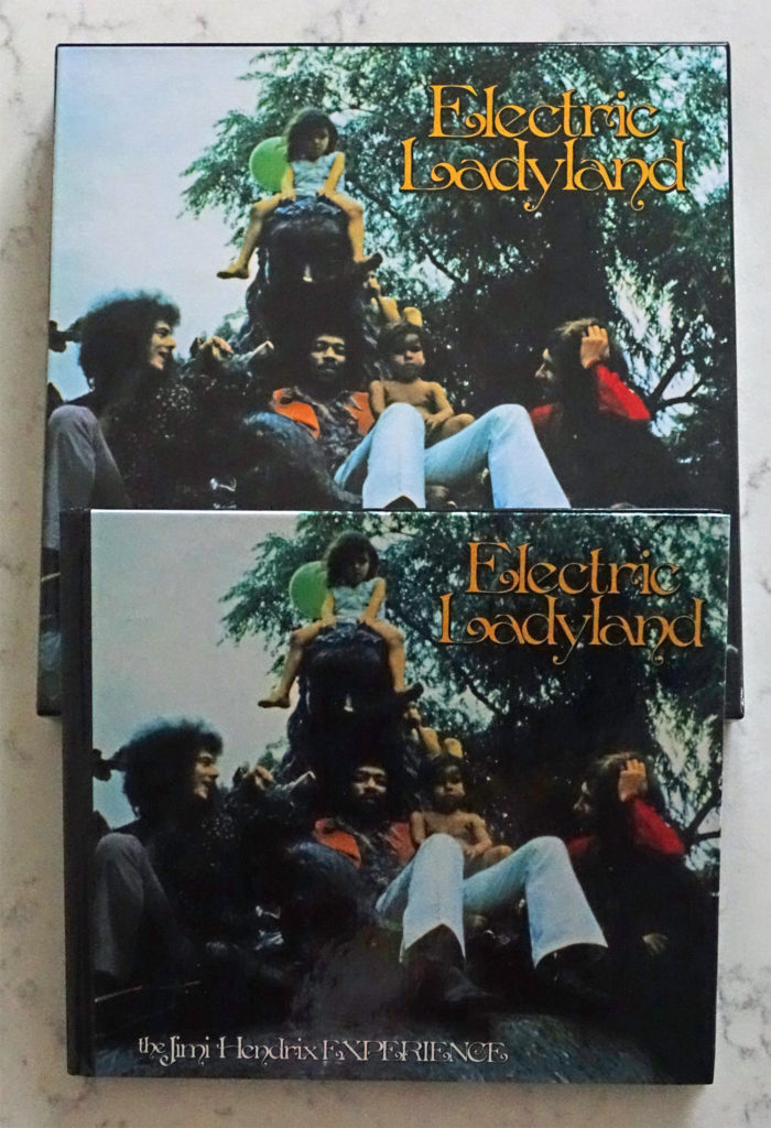 "Dimensional comparison of both formats of the 50th anniversary of ""Electric Ladyland"" box sets"