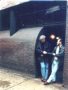 John Storyk (left) and Eddie Kramer in 1997, weeks before the distinctive curved facade of Electric Lady was demolished.